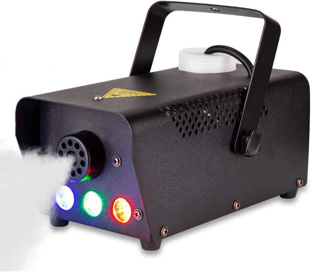 Máquina de niebla, luces de 7 colores LED, compacta máquina de humo portátil con conexión de cable y control remoto inalámbrico, máquina de niebla mejor for la boda del festival del partido de Hallowe