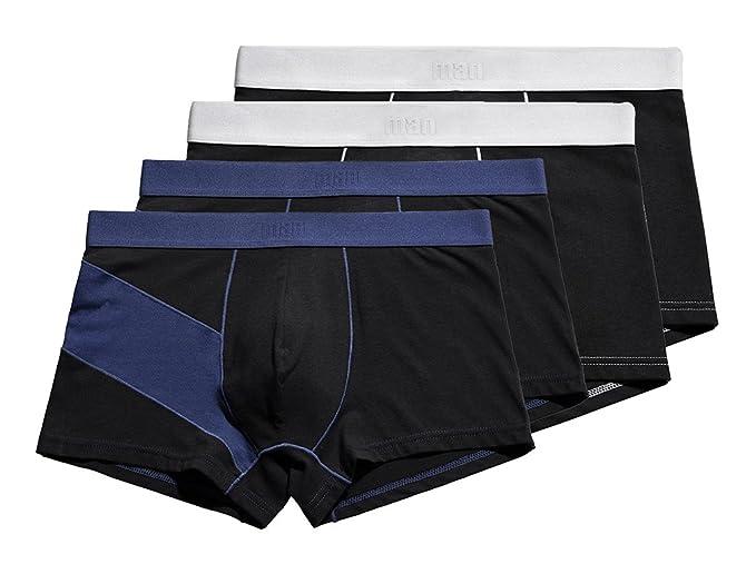 Scennek Males Durable Black 4-Pack Underwear Boxer Briefs Breathable