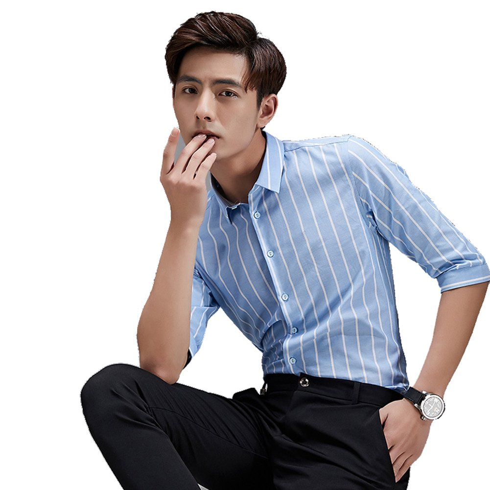DeLamoe Men Line Cotton Shirts Middle Sleeve Stripe Young Dress Overshirt