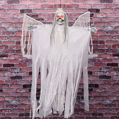 Halloween 3.5 Feet Hanging Decorations with Flashing Eyes & Sound & Swinging Wings, Hanging Skull Hanging Skeleton, Black Groom & White Bride, Halloween Props, Best Halloween Decoration (White Bride)