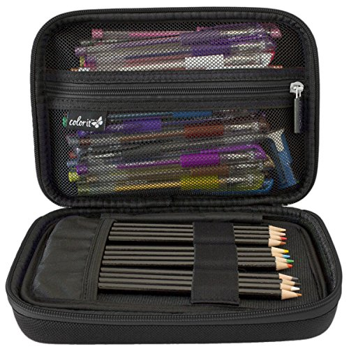 ColorIt Large Pencil Case Storage for Colored Pencils, Gel Pens, Markers, Brushes, Craft Supplies - [NEW BLACK LABEL] Semi-hard EVA Carrying Case Only (BLACK) -