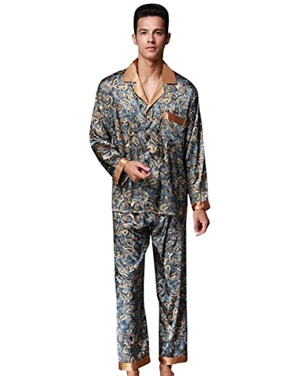 156685def7 Men s Pajamas Set Comfort Fit Pants Top Long and Comfortable Bathing  Homewear Fashion Brands Negligee Pajamas Two Piece  Amazon.co.uk  Clothing