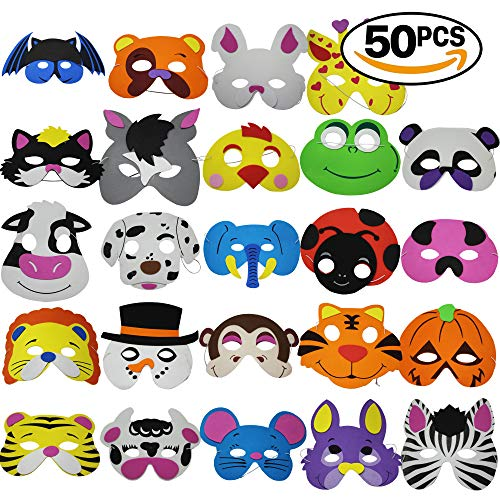 THE TWIDDLERS 50 Animal Foam Purim Masks Halloween Mask for Kids - Assorted Jungle Safari Designs - Dress Up Costume Circus Zoo & School Party Supplies - Birthday Prizes, Party Favors, Pinata -