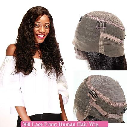Pelucas Naturales Lace Front Wig Mujer Pelo Natural Cabello Humano 360 Encaje con Cabello de Bebé