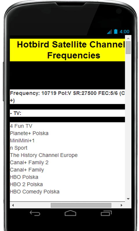 Amazon com: Satellite Frequencies: Appstore for Android