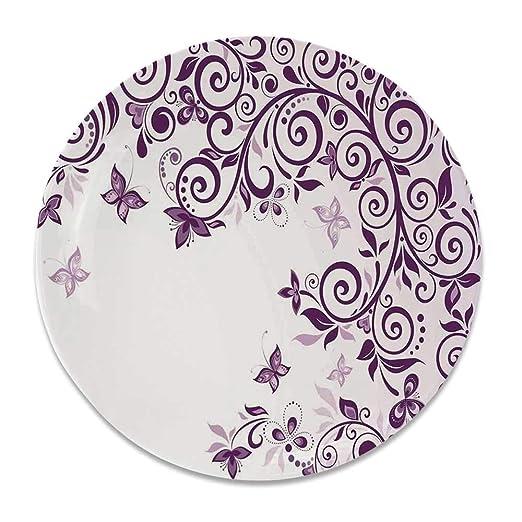 YOLIYANA Mauve - Plato Decorativo de cerámica Redondo, diseño de ...