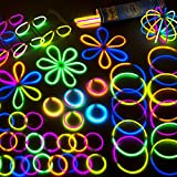 "Glow Sticks Party Favors for Kids - 100 8"" Glow Sticks Party Pack w/ Connectors for Fun Glow in the Dark Party Supplies in Mixed Neon Party Decorations Colors"