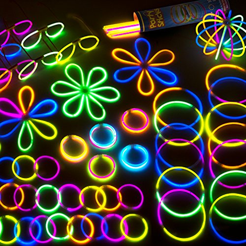 "Glow Sticks Bulk Party Supplies Pack - 100-Pc. 8"" PartySticks Brand Premium Glow In The Dark Light Sticks & Connectors Makes Tons of Glow Necklaces and Glow Bracelets"