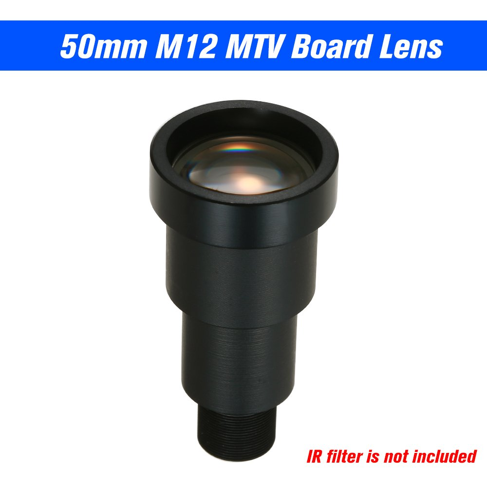 Festnight 1/3'' HD 1.3MP 50mm Starlight CCTV Lens 6.7 Degree M12 Mount MTV Board IR Lens for Security CCTV Video Cameras F1.2 Long Viewing Distance Without IR-Cut Filter by Festnight