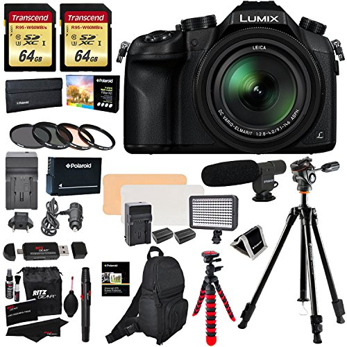 Panasonic Lumix DMC-FZ1000 4K QFHD/HD 16X Long Zoom Digital Camera (Black) + 64GB U3 SDXC X2 + Vanguard Tripod + Shotgun Mic + LED Light Kit + Spare Battery and Charger + Case and Accessory Bundle