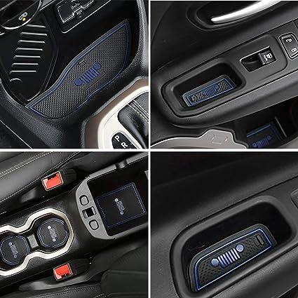 Jeep Renegade Interior >> Amazon Com Auovo Anti Dust Interior Cup Mats Door Gate Slot Storage