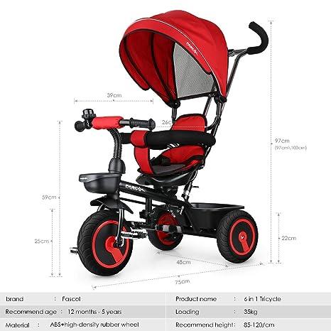 Fascol 6 en 1 Triciclo para Niños con Asiento Giratorio Adecuado para Mayores de 12 Meses - 5 años Color Roja: Amazon.es: Deportes y aire libre