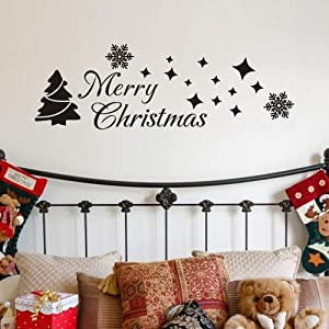 MoharWall Christmas Tree Sticker Winter Snow Wall Decal Merry Christmas Quotes Star Vinyl Art Decor