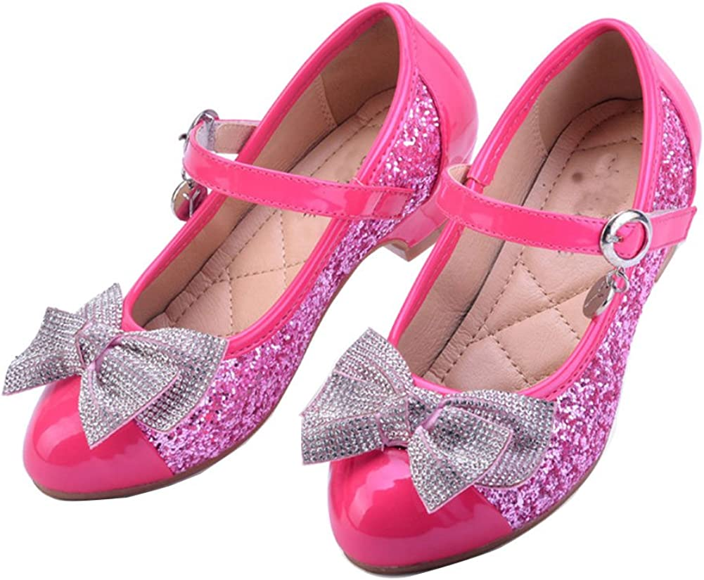 Kids Girls Flower Ankle Strap Flat Pumps Party Princess Leather Shoes Size UK
