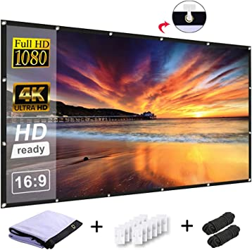 120 Inch Projector Screen 16:9 HD Anti-Crease Indoor Outdoor Wrinkle-Free