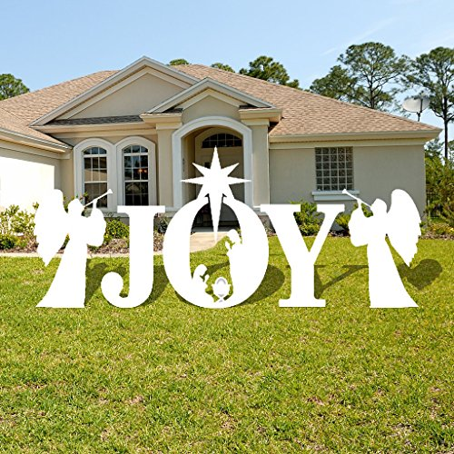 VictoryStore Yard Sign Outdoor Lawn Decorations: Joy, Nativity Scene Christmas Lawn Display and Yard Cards, White 10 EZ stakes