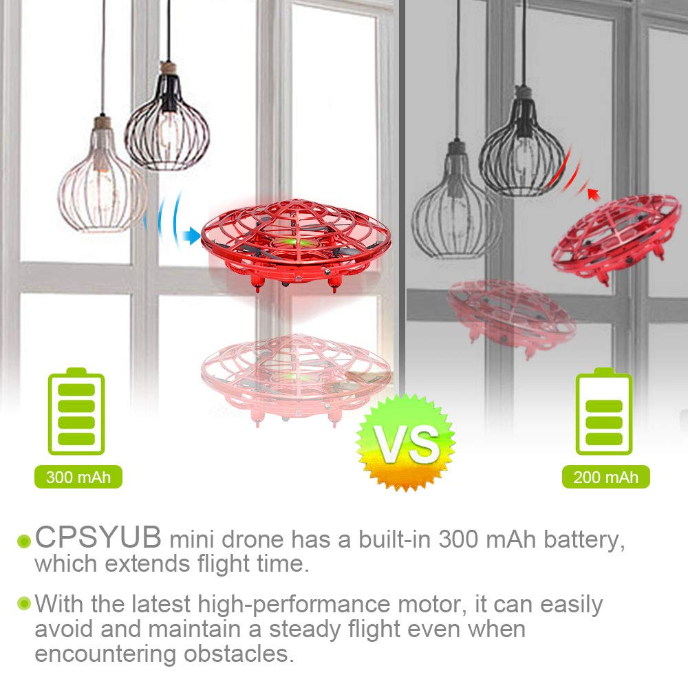 CPSYUB Hand Operated Drones for Kids or Adults, Toys for 4-5 Year Old Boys, Hands Free Kids Drone Toys for 3, 4, 5, 6, 7, 8, 9 Year Old Boys and Girls, Flying Ball Drone for Kids Toys Gift (Red) by CPSYUB (Image #4)