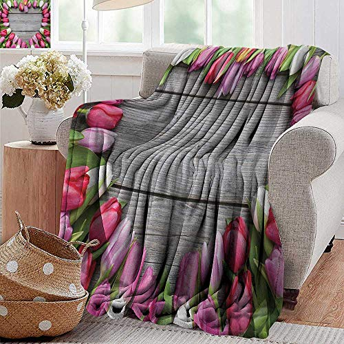XavieraDoherty Velvet Touch Ultra Plush,Love,Frame of Fresh Tulips Arranged on Wooden Table Country Nature Valentines Print,Pink Green Umber,300GSM,Super Soft and Warm,Durable Throw Blanket 70