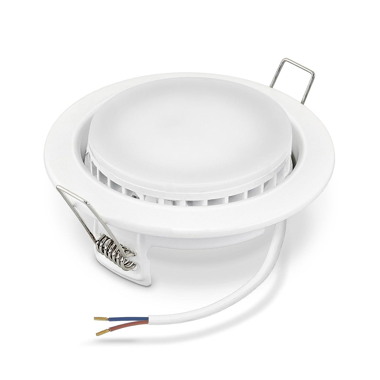 3 x LED Einbauleuchten Set GX53 in Weiß inkl. 7W Leuchtmittel I Extra flach 110° Abstrahlwinkel geringe Einbautiefe I Einbaustrahler Deckenlampe Deckenleuchte ECO Lampe (3er Set warmweiß)