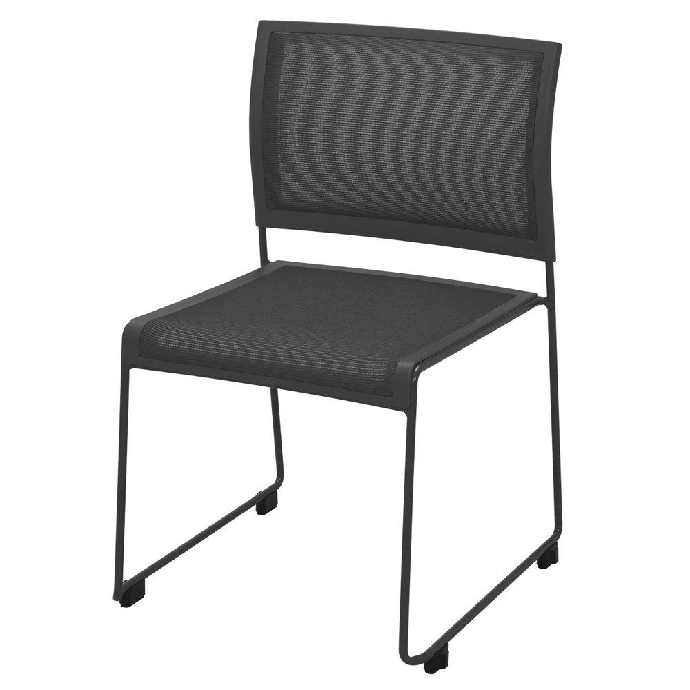 ループ脚チェア QUE /ブラック(1脚)QUE-BLACK椅子 会議室 会議椅子 スタッキング収納 横連結 集会所   B01KSXNXTI