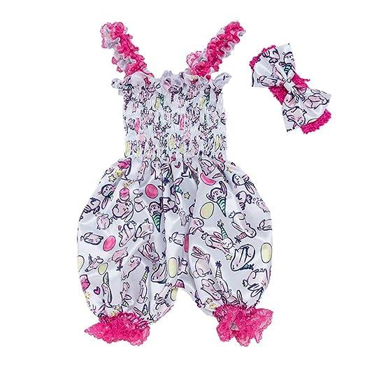1b5da6e96eae Amazon.com  Roemdia Baby Easter Cartoon Animal Print Lantern Straps Jumpsuit  + Hairband Two-Piece Suit  Clothing