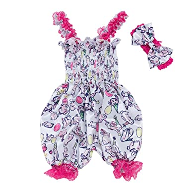 079846ca9 Zerototens Bodysuit Baby Girls Bowknot Ruffle Dungarees Toddler Infant Kids  Sleeveless Strap Romper Jumpsuit and Headband Outfit Set 0-24 Months Blue:  ...