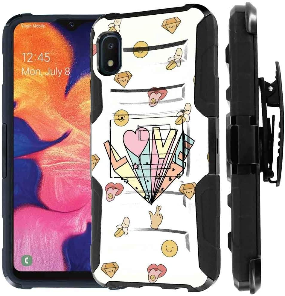 Amazon Com Talkingcase Black Dual Layer Phone Case For Samsung Galaxy A10e Sm A102u Cute Love Topography Print Full Protection Kickstand Belt Clip Holster Designed In Usa