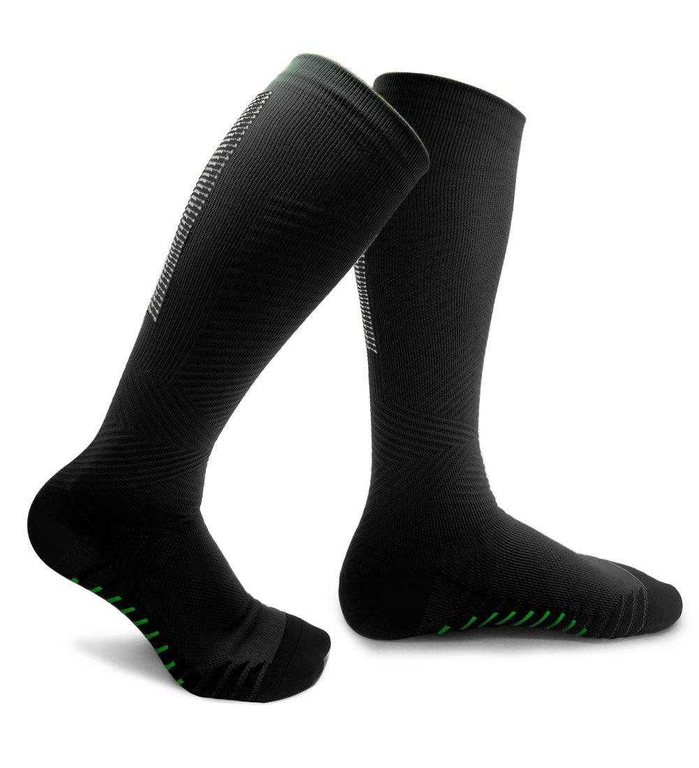 Compression Socks for Men & Women - Comfortable, Non-Slip & Moisture-Wicking - Muscle Support, Pain Relief & Injury Recovery - for Athletic, Travel, Medical Use, Nurse, Running (Black, Large/X-Large)