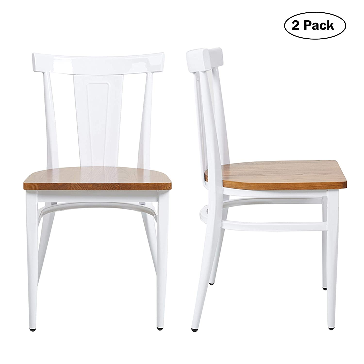 Superb Dining Room Chairs Set Of 2 Wood Seat And Metal Leg Heavy Duty Modern Side Chairs For Kitchen Restaurant Cafe Ergonomic Design White Inzonedesignstudio Interior Chair Design Inzonedesignstudiocom