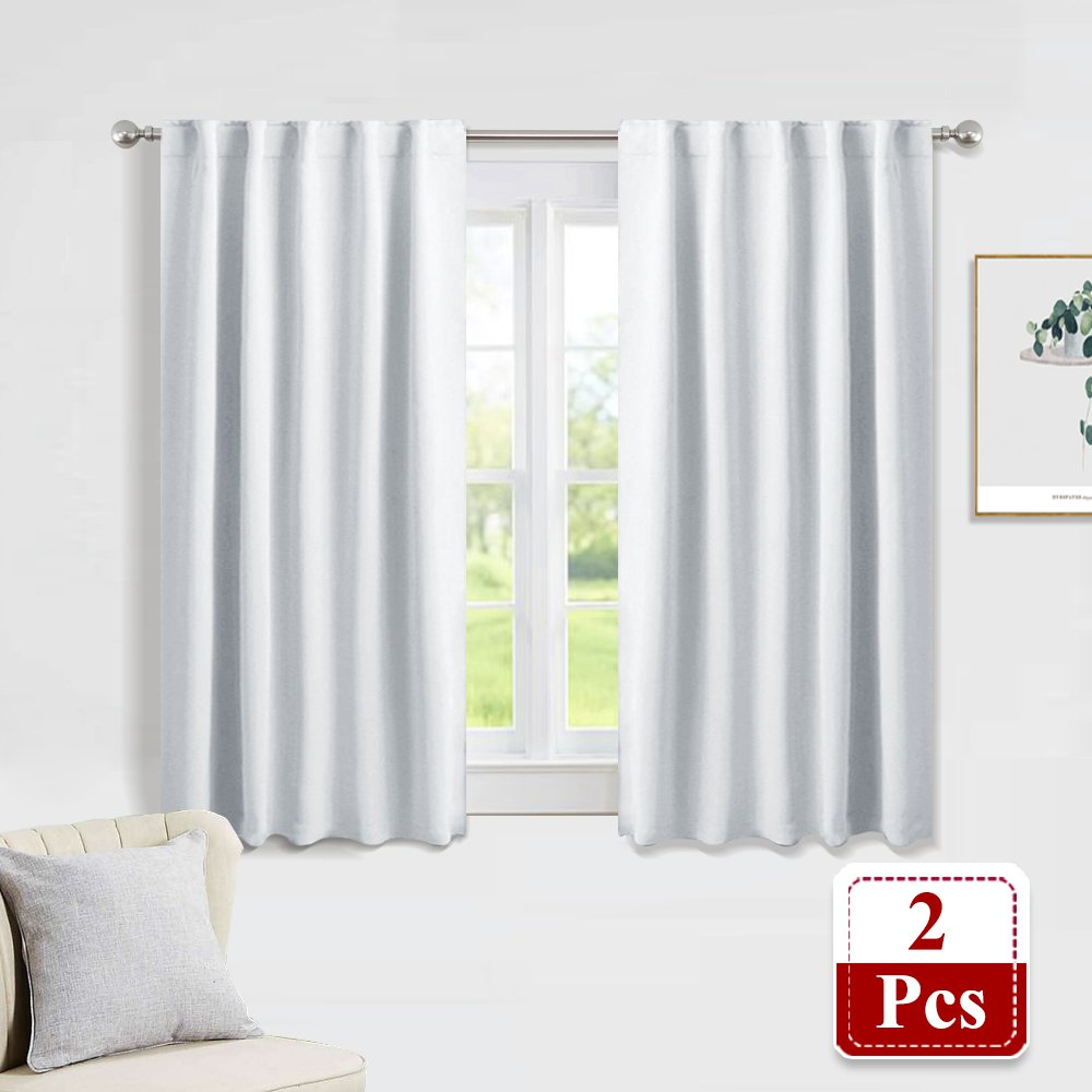 PONY DANCE Silver White Curtains - Light Blocking Back Tab/Rod Pocket Window Treatments Curtain Panels Room Darkening Home Decoration Drapes, Width 42'' by Length 45'', Double Pieces