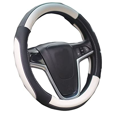 Mayco Bell Car Steering Wheel Cover 15 Inches Comfort Durability Safety (Black White): Automotive