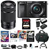 Sony Alpha a6000 Mirrorless Camera w/ 16-50mm & E55-210mm Premium Bundle For Sale