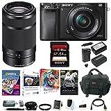 Sony Alpha a6000 Mirrorless Camera w/ 16-50mm & E55-210mm Premium Bundle For Sale