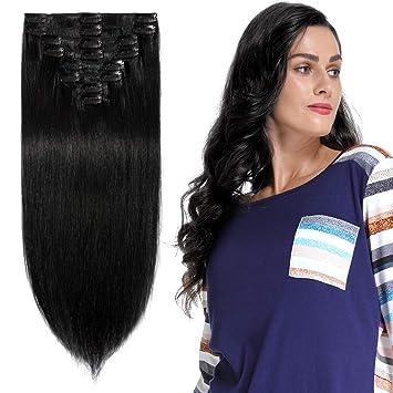 Top Qualität überlegene Leistung doppelter gutschein Clip in Extensions Echthaar günstig Haarverlängerung Remy Echthaar 8  Tressen 18 Clips Glatt 60cm-120g(#1 Schwarz)