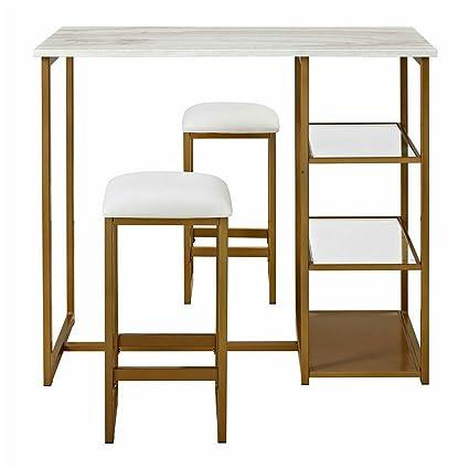 Amazon Com Pub Table Set 3 Piece Loft Dining Table With