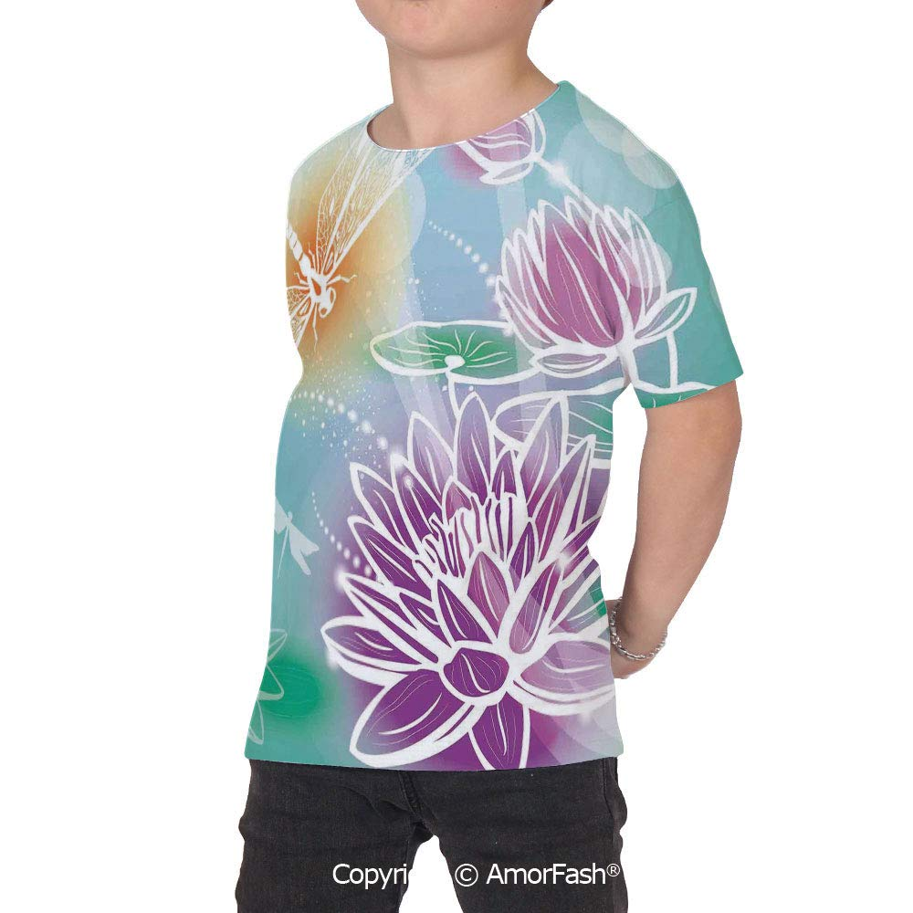 Dragonfly Childrens Classic Basic Printed Ultra Comfortable T-Shirt,Silhouette