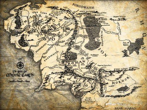 Amazon Com Dj1296 El Senor De Los Anillos Tierra Media Mapa Arte