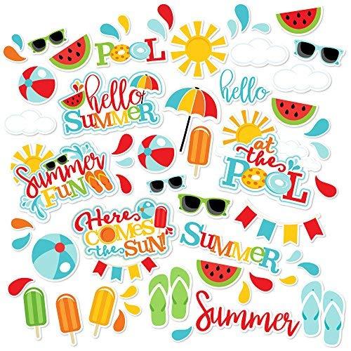 Paper Die Cuts - Summer Fun - Over 60 Cardstock Scrapbook Die Cuts - by Miss Kate Cuttables