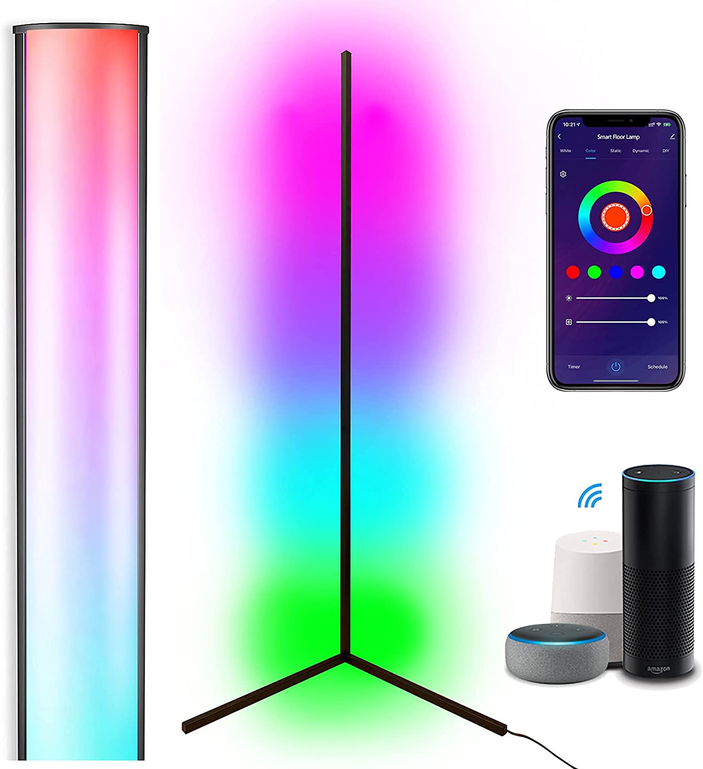 Smart Corner Floor Lamp, Compatible with Alexa & Google Home, Mood Lighting, WiFi App Remote, RGBCW Music Sync Color Changing, LED Dimmable Full Spectrum, for Living Rooms Bedrooms Party Decoration