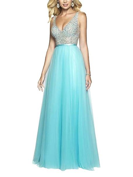 Amazon.com: Bling Beaded Vestido de graduación de cristal ...
