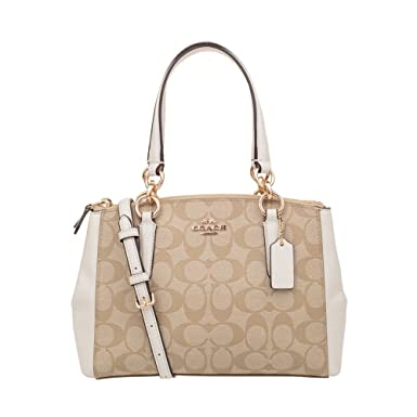 4709211650b Coach Signature PVC Small Christie Carryall F58291 Light Khaki/Chalk
