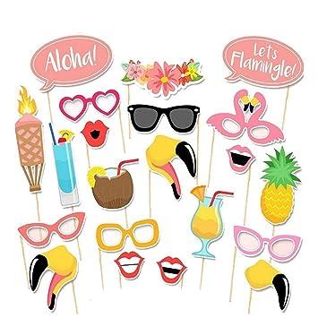 Anokay Photo Booth Haiwaii - 21 pcs Kit de Photocalls Máscaras Prop Foto Atrezzo Hawai Accesorios Colores Gafas Bigote Labios Pajarita Sombreros para ...