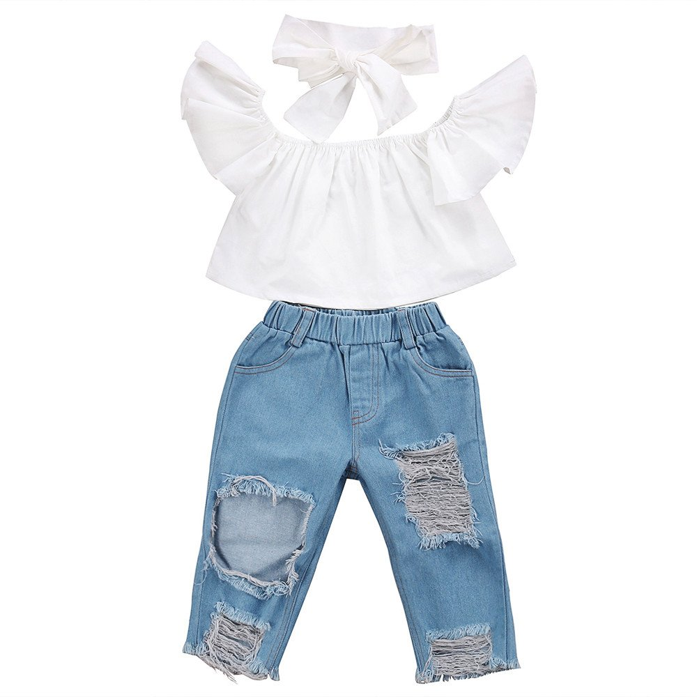 Toddler Infant Baby Girl 3PCS Summer Clothing Set Off Shoulder Leopard Short Sleeve Crop T-Shirt Tank Tops + Hole Denim Pant Jeans + Headband For 1-5 Years Baby