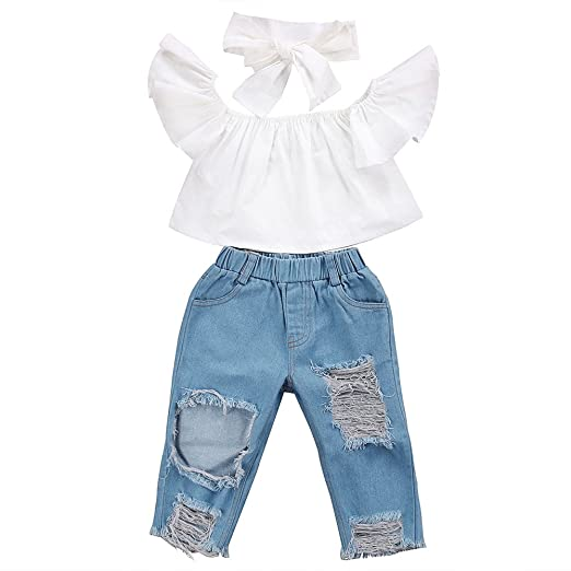 e30d2cc2d504 Amazon.com  3Pcs Baby Girl Clothes Off Shoulder Ruffles Crop Top and ...