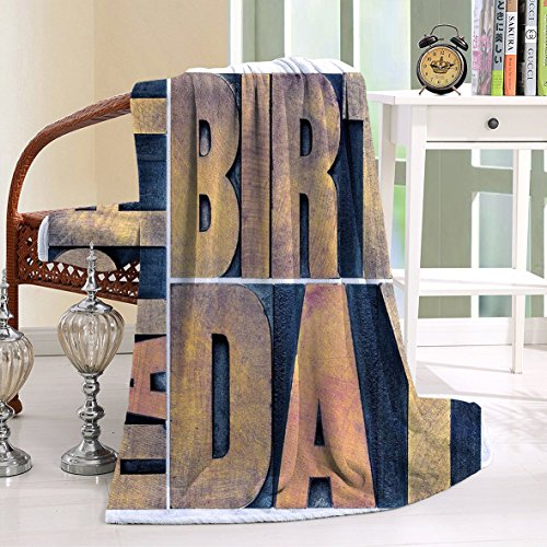 HAIXIA Throw Blanket Birthday Letterpress Wood Type Printing Blocks Rectangles Typography Light Brown Dark (Letterpress Type Printing)