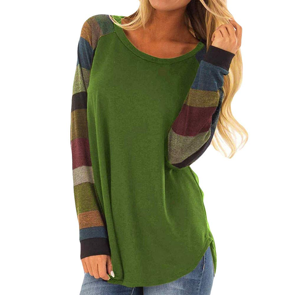 NUWFOR Womens Lightweight Color Block Long Sleeve Pullover Tops Loose Casual Tunic Sweatshirt?Khaki?S?