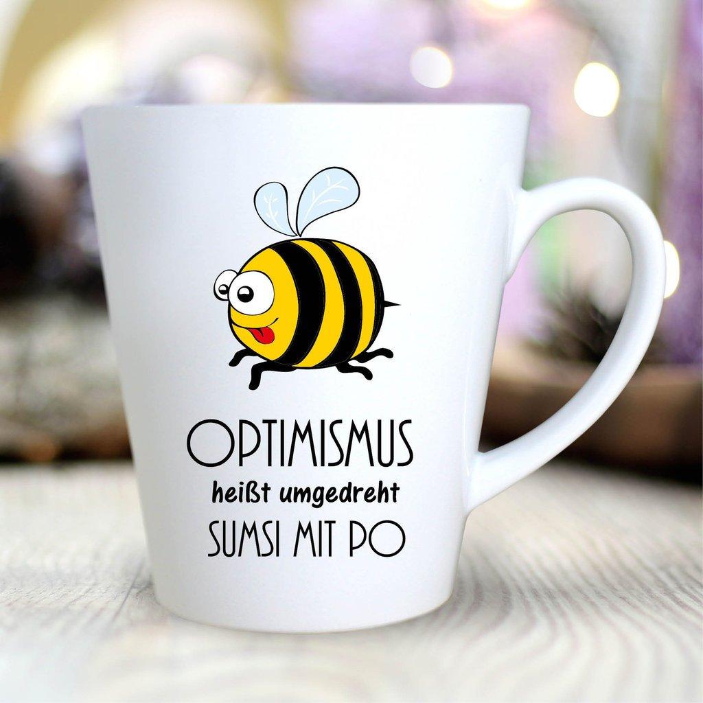 """Optimismus hei/ßt umgedreht Sumsi mit Po mit Biene Wandtattoo Loft/® Bedruckte Konische Keramiktasse /""""Schriftzug Tasse Kaffeetasse mit Motiv beidseitig bedruckt Sp/ülmaschinenfest Becher"""
