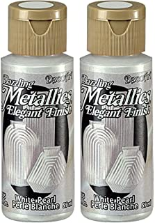 product image for 2-Pack - DecoArt Dazzling Metallics Acrylic Colors - White Pearl, 2-Ounces Each