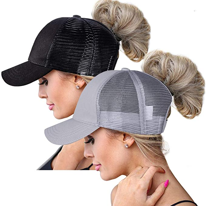 High Ponytail Hole Baseball Hats Cap For Women,Messy Bun Hat Adjustable Cotton And Mesh Trucker Baseball Sun Cap Black by Rosoz