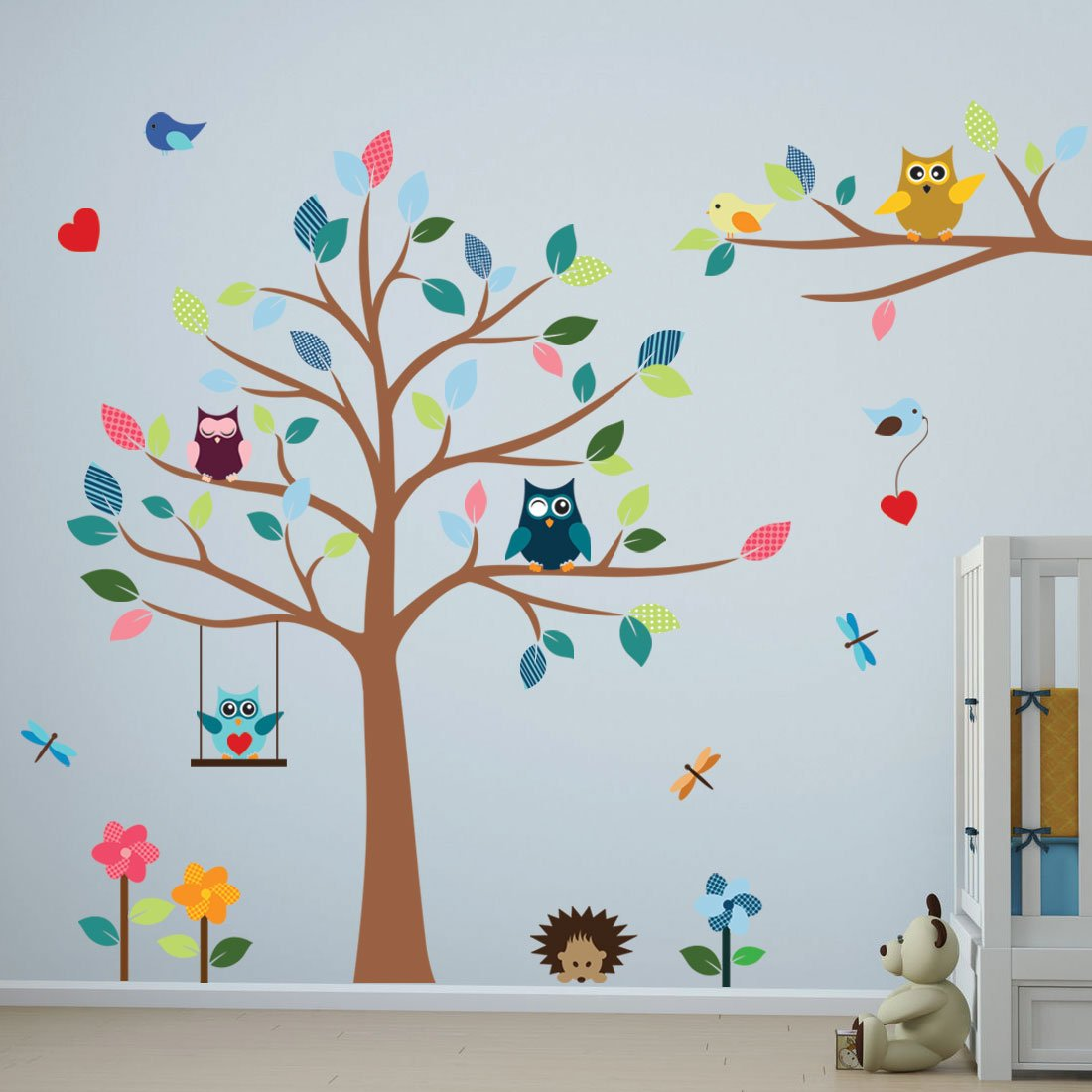 Timber Artbox Cheerful Nursery Wall Decals with Owls & Tree - Best Décor for Kids Room, Nursery & Playroom by Timber Artbox